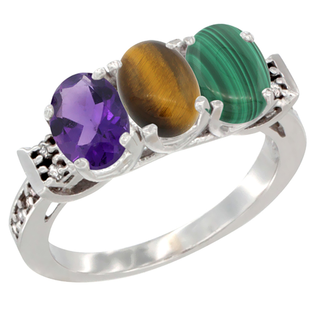 14K White Gold Natural Amethyst, Tiger Eye & Malachite Ring 3-Stone 7x5 mm Oval Diamond Accent, sizes 5 - 10