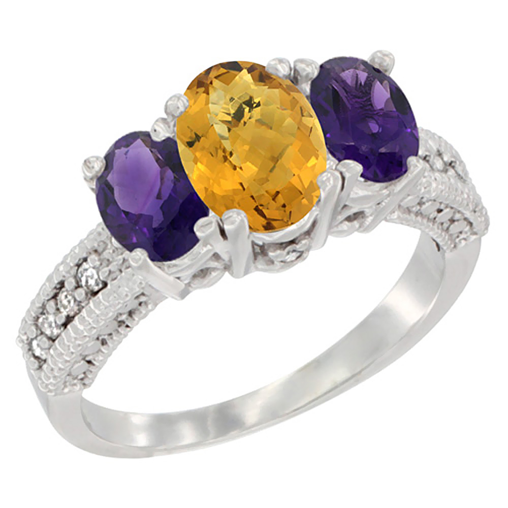 10K White Gold Diamond Natural Whisky Quartz Ring Oval 3-stone with Amethyst, sizes 5 - 10