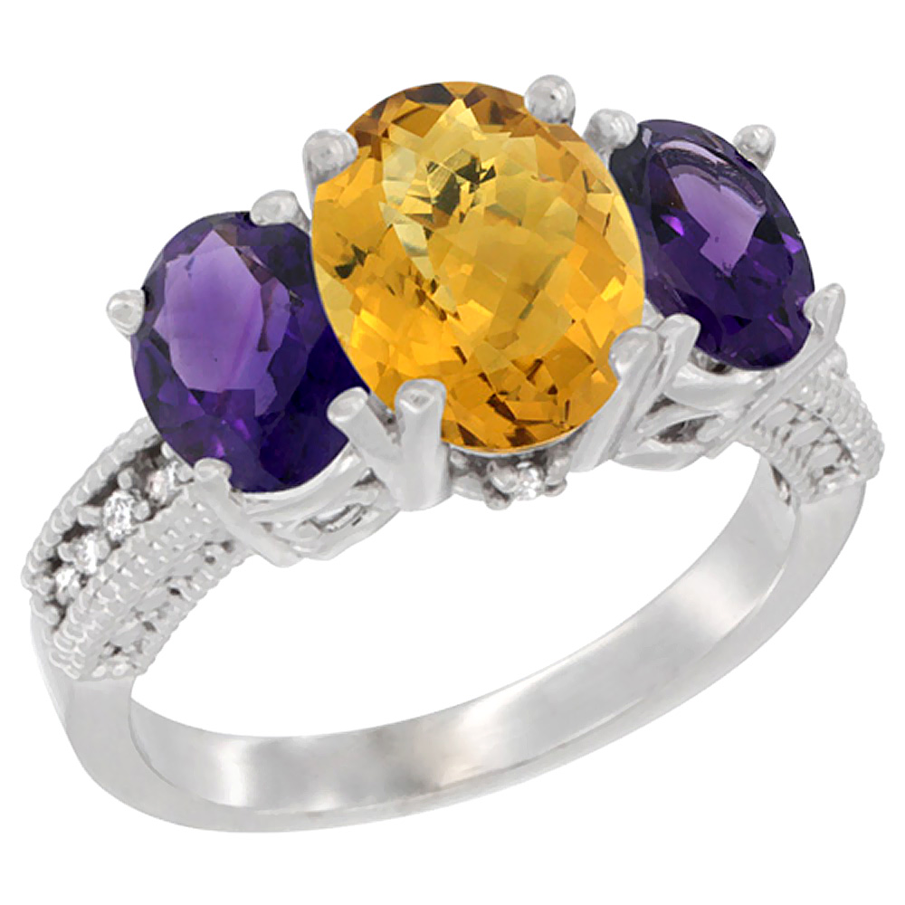 10K White Gold Natural Whisky Quartz Ring Ladies 3-Stone 8x6 Oval with Amethyst Sides Diamond Accent, sizes 5 - 10