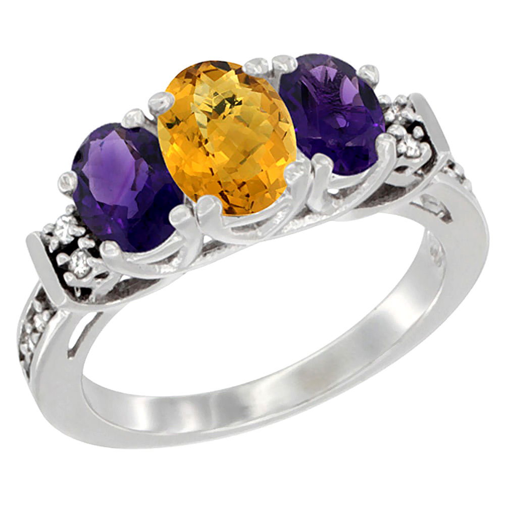 14K White Gold Natural Whisky Quartz & Amethyst Ring 3-Stone Oval Diamond Accent, sizes 5-10