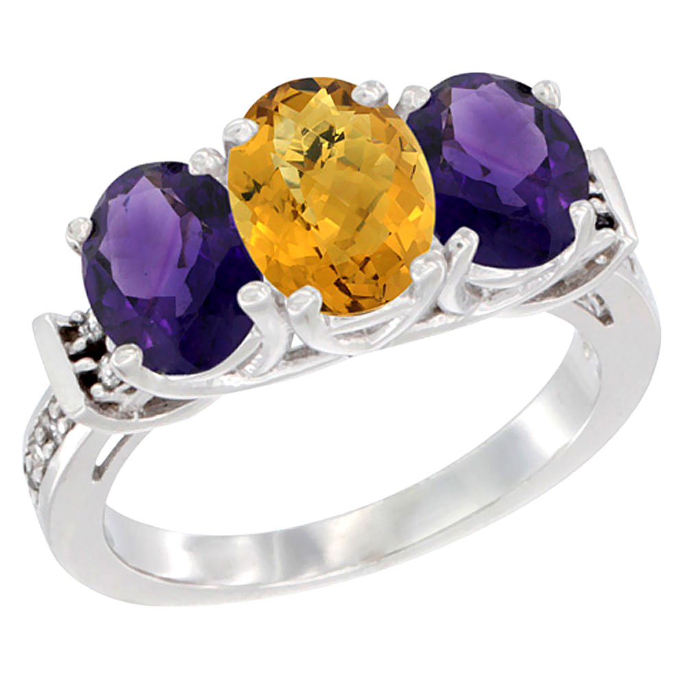 10K White Gold Natural Whisky Quartz & Amethyst Sides Ring 3-Stone Oval Diamond Accent, sizes 5 - 10