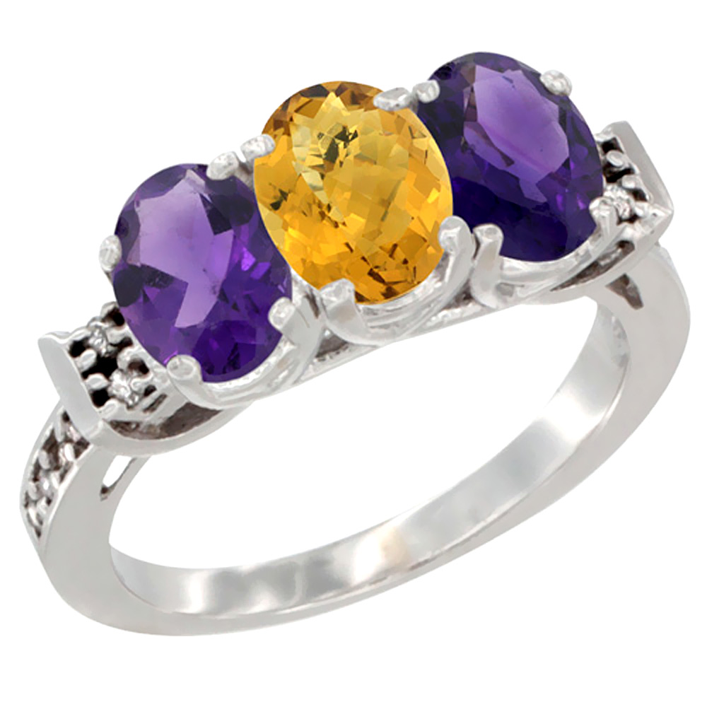 14K White Gold Natural Whisky Quartz & Amethyst Sides Ring 3-Stone 7x5 mm Oval Diamond Accent, sizes 5 - 10