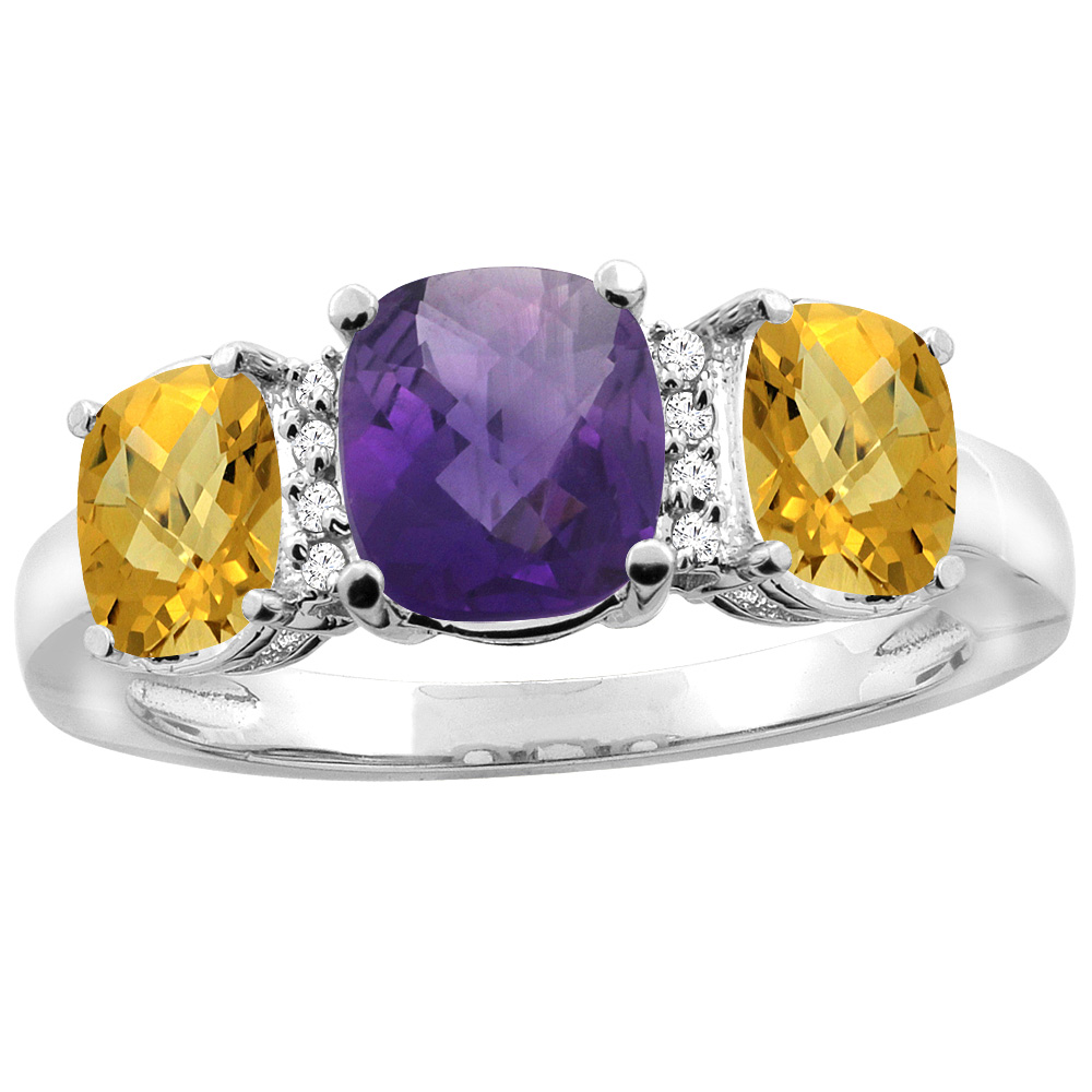 14K White Gold Natural Amethyst & Whisky Quartz 3-stone Ring Cushion 8x6mm Diamond Accent, sizes 5 - 10