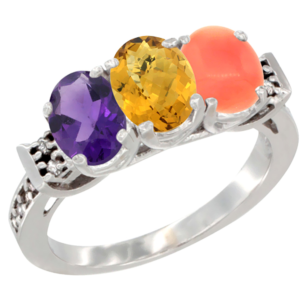 14K White Gold Natural Amethyst, Whisky Quartz & Coral Ring 3-Stone 7x5 mm Oval Diamond Accent, sizes 5 - 10