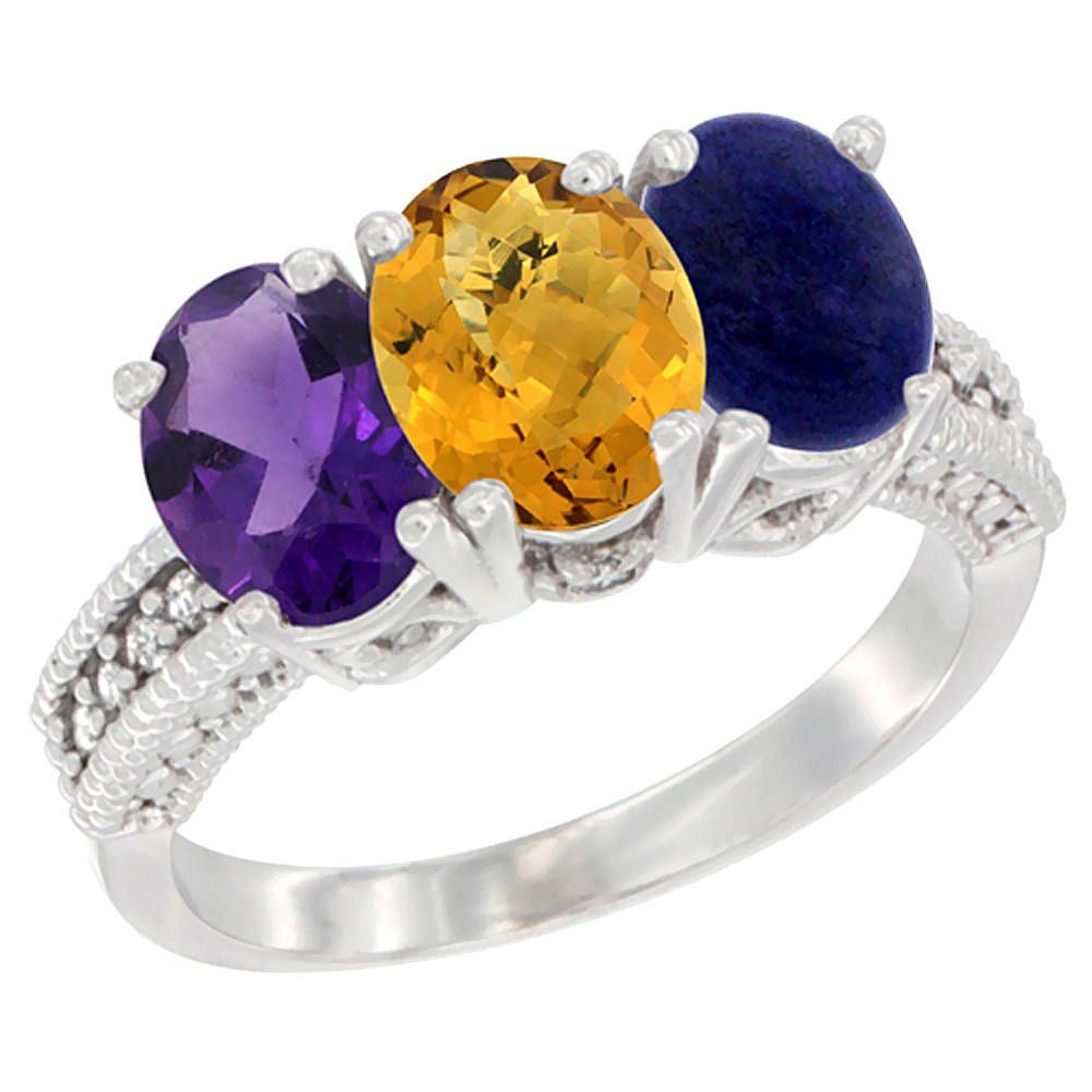 10K White Gold Natural Amethyst, Whisky Quartz & Lapis Ring 3-Stone Oval 7x5 mm Diamond Accent, sizes 5 - 10