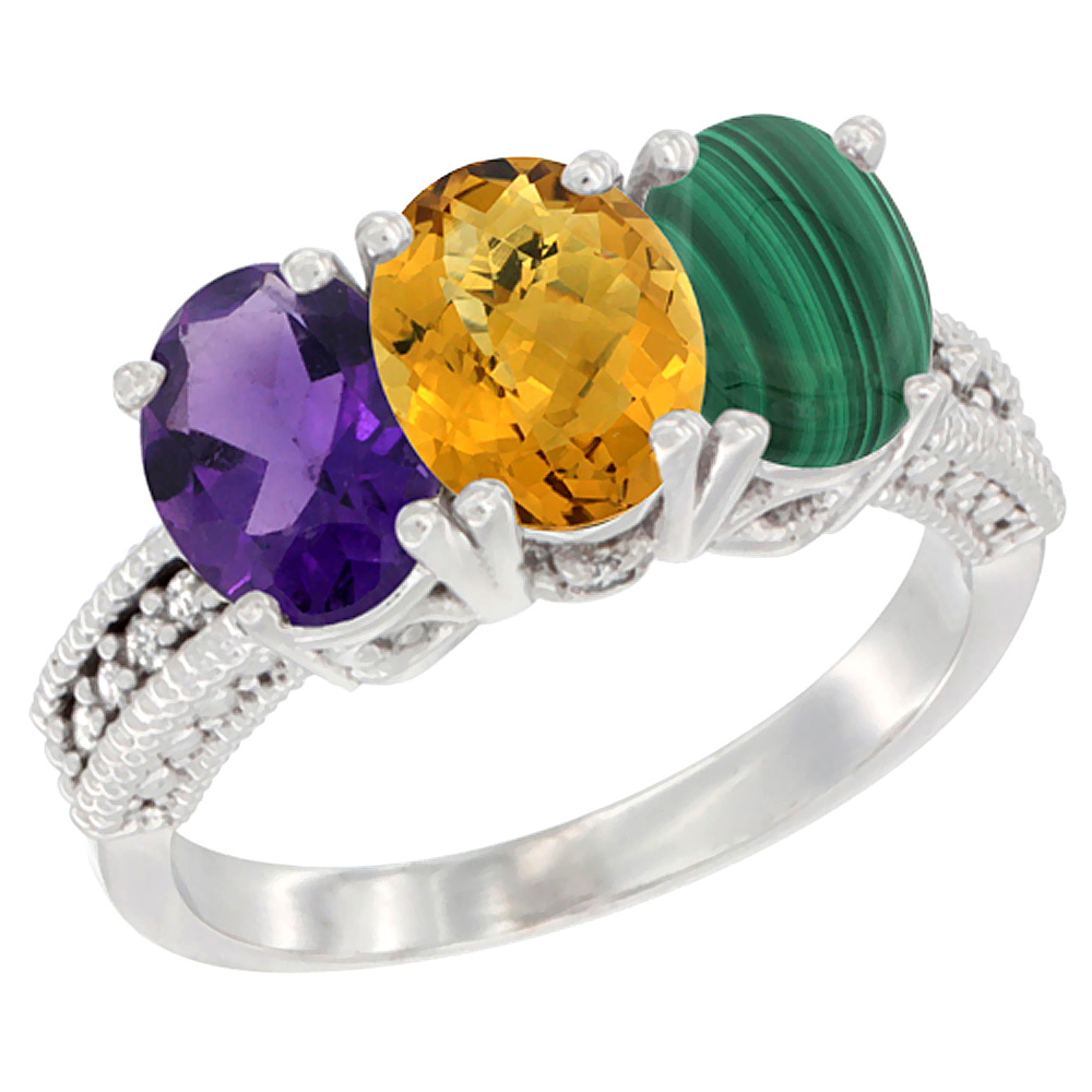 14K White Gold Natural Amethyst, Whisky Quartz & Malachite Ring 3-Stone 7x5 mm Oval Diamond Accent, sizes 5 - 10