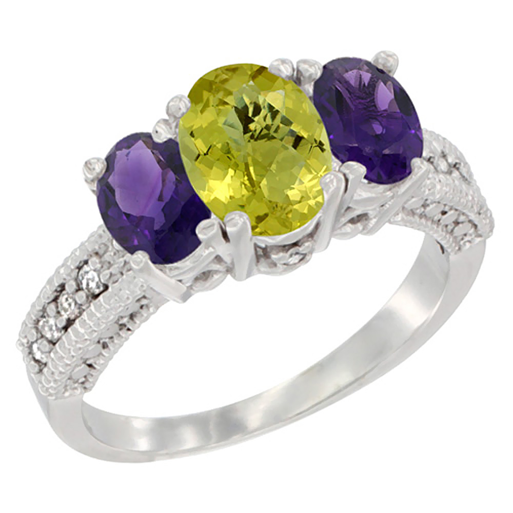 14K White Gold Diamond Natural Lemon Quartz Ring Oval 3-stone with Amethyst, sizes 5 - 10