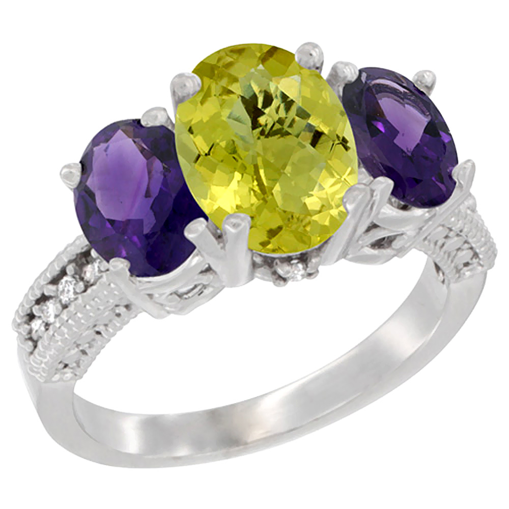 14K White Gold Natural Lemon Quartz Ring Ladies 3-Stone 8x6 Oval with Amethyst Sides Diamond Accent, sizes 5 - 10