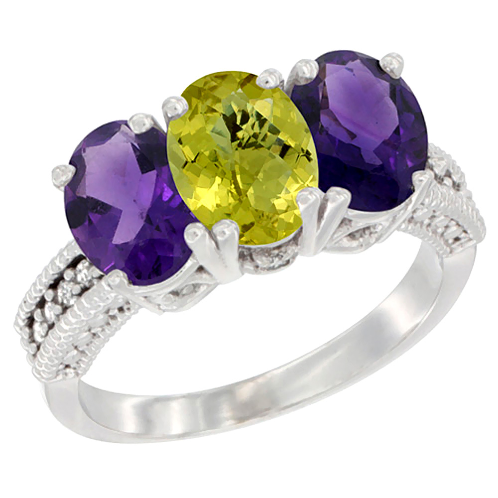 14K White Gold Natural Lemon Quartz & Amethyst Ring 3-Stone 7x5 mm Oval Diamond Accent, sizes 5 - 10