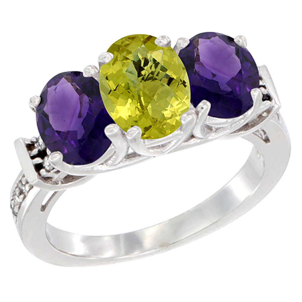 14K White Gold Natural Lemon Quartz & Amethyst Sides Ring 3-Stone Oval Diamond Accent, sizes 5 - 10