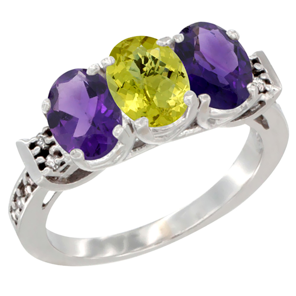 14K White Gold Natural Lemon Quartz & Amethyst Sides Ring 3-Stone 7x5 mm Oval Diamond Accent, sizes 5 - 10