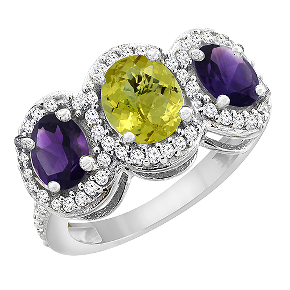 10K White Gold Natural Lemon Quartz & Amethyst 3-Stone Ring Oval Diamond Accent, sizes 5 - 10