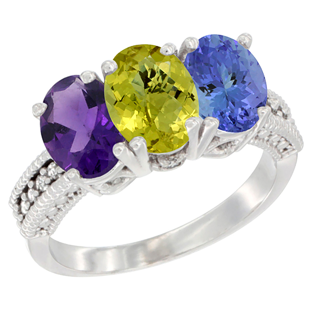 14K White Gold Natural Amethyst, Lemon Quartz & Tanzanite Ring 3-Stone 7x5 mm Oval Diamond Accent, sizes 5 - 10