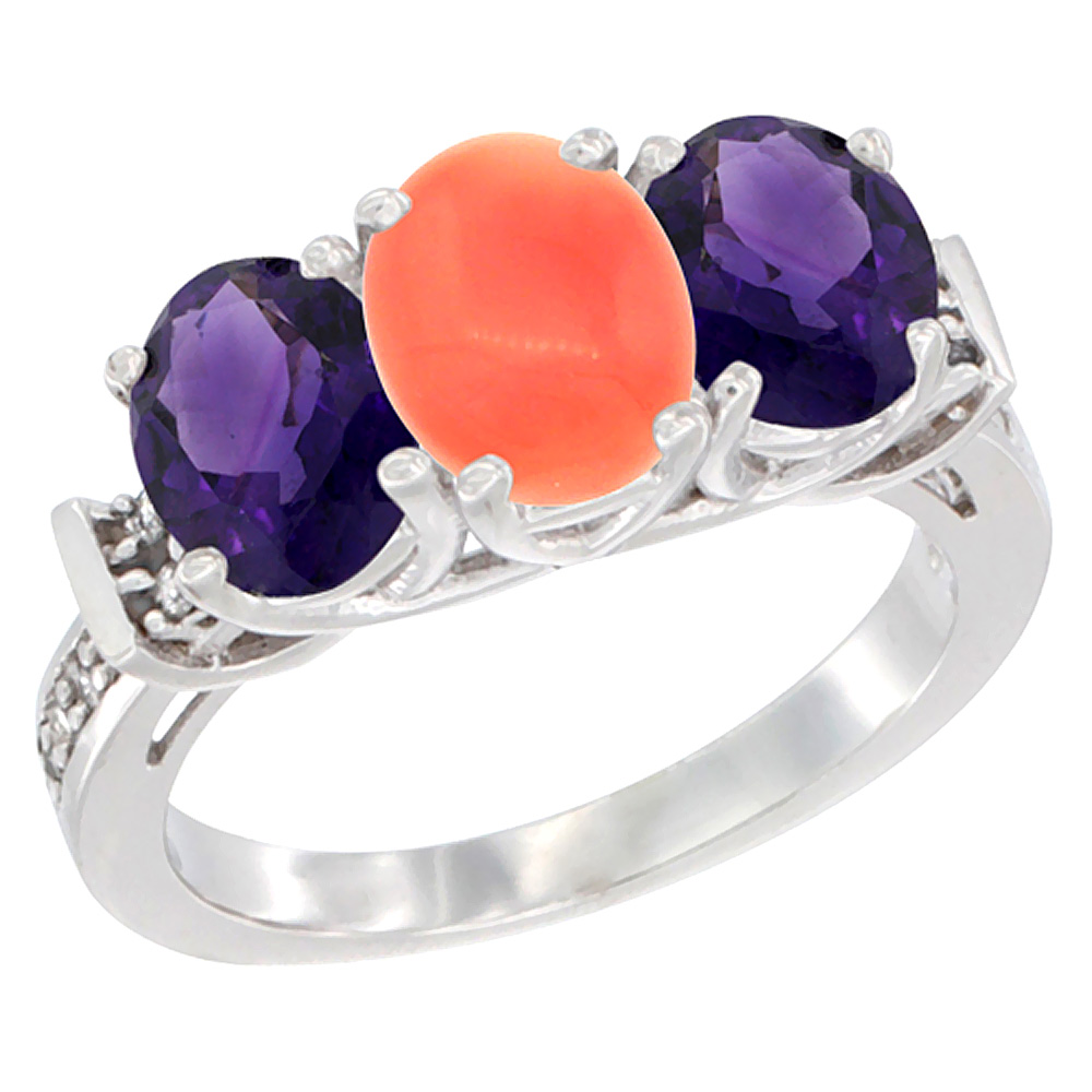10K White Gold Natural Coral & Amethyst Sides Ring 3-Stone Oval Diamond Accent, sizes 5 - 10