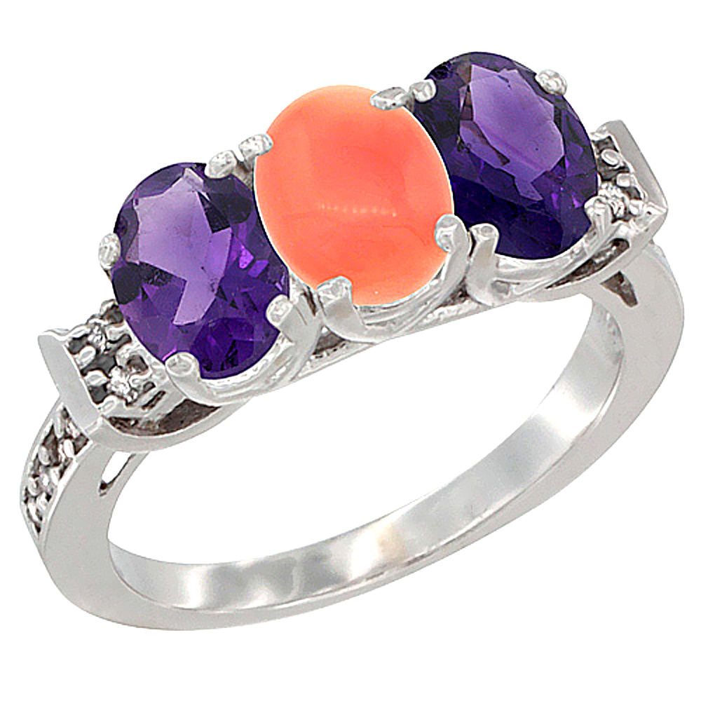 14K White Gold Natural Coral & Amethyst Sides Ring 3-Stone 7x5 mm Oval Diamond Accent, sizes 5 - 10