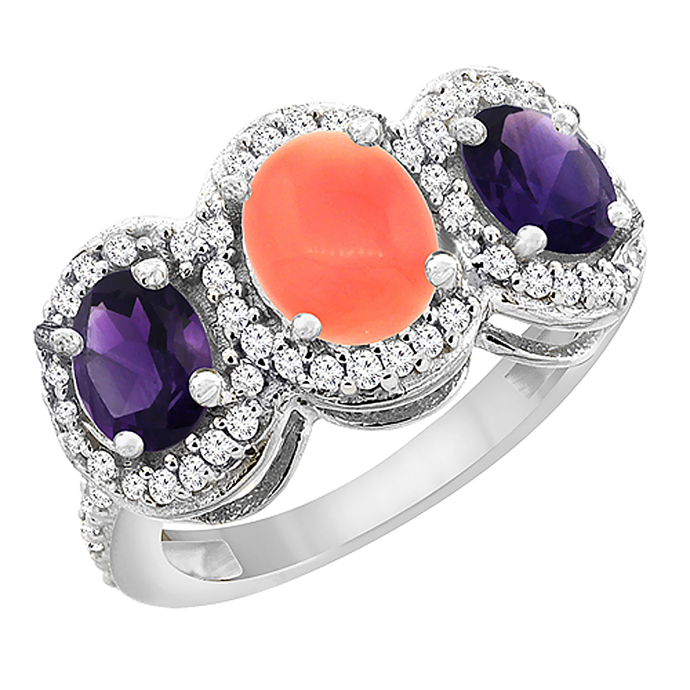10K White Gold Natural Coral & Amethyst 3-Stone Ring Oval Diamond Accent, sizes 5 - 10