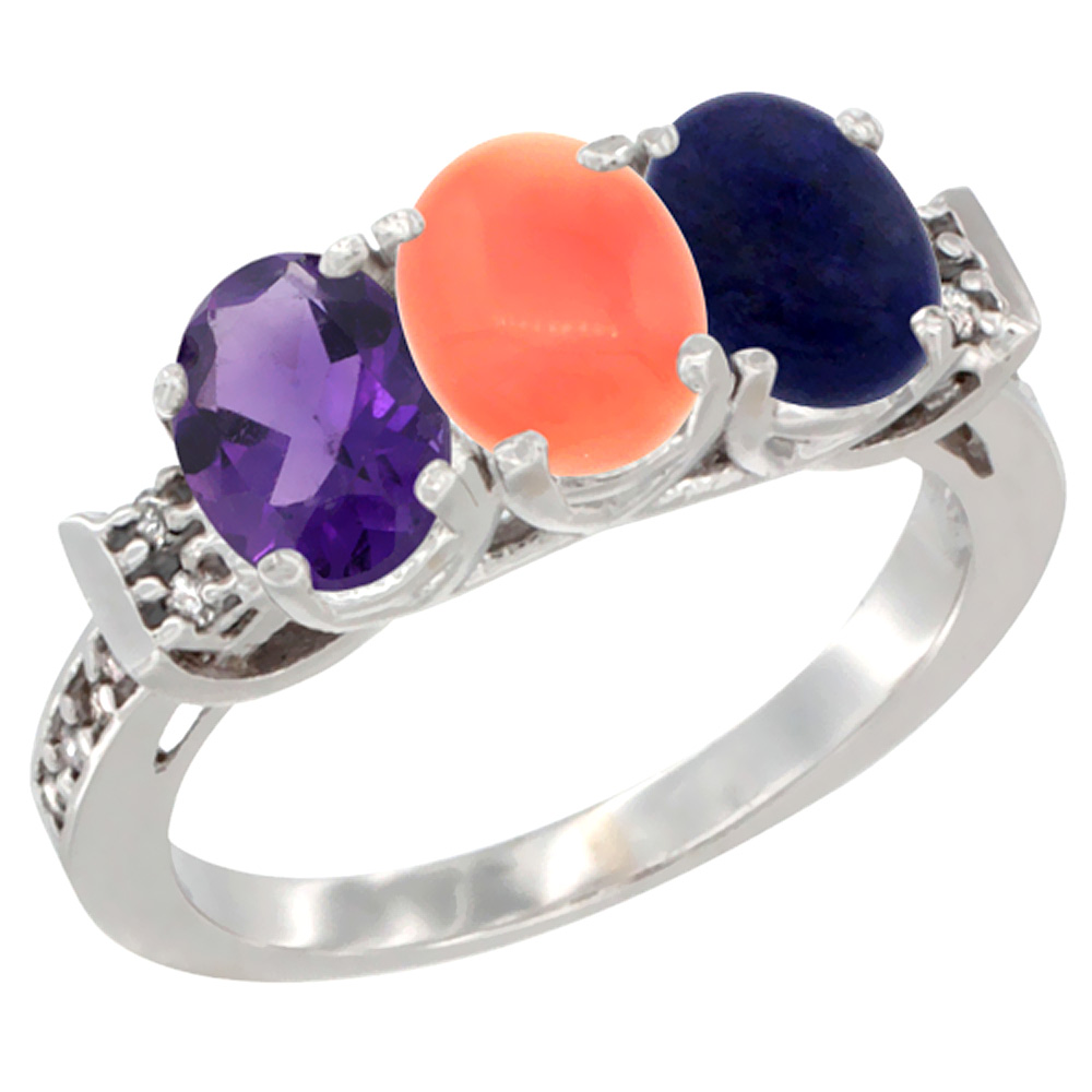 14K White Gold Natural Amethyst, Coral & Lapis Ring 3-Stone 7x5 mm Oval Diamond Accent, sizes 5 - 10