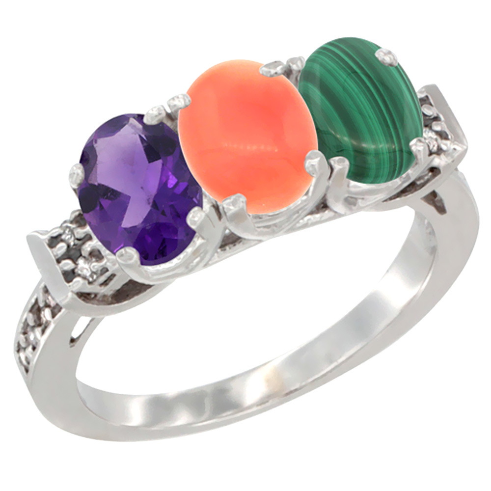 14K White Gold Natural Amethyst, Coral & Malachite Ring 3-Stone 7x5 mm Oval Diamond Accent, sizes 5 - 10
