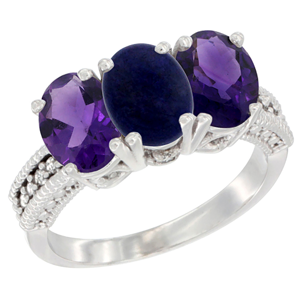14K White Gold Natural Lapis & Amethyst Ring 3-Stone 7x5 mm Oval Diamond Accent, sizes 5 - 10