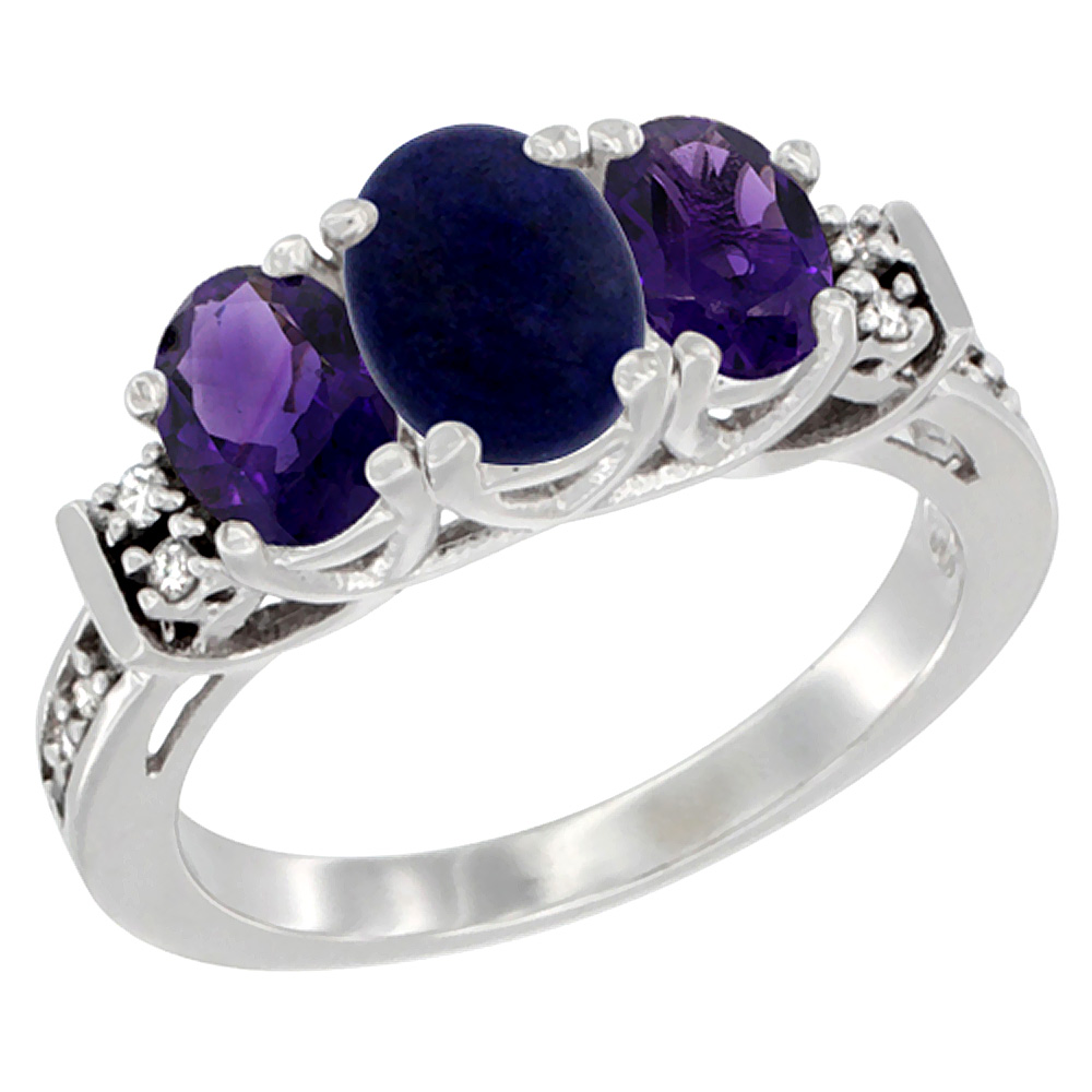 14K White Gold Natural Lapis & Amethyst Ring 3-Stone Oval Diamond Accent, sizes 5-10