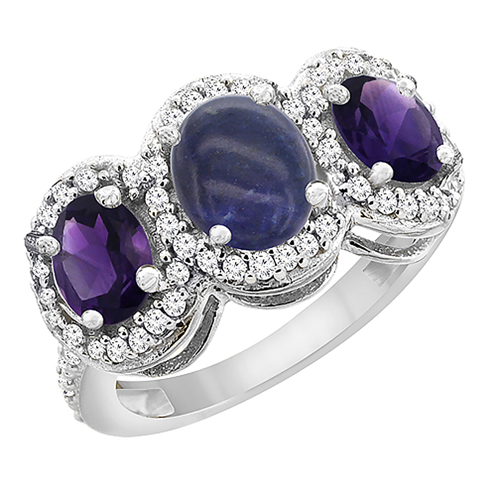 14K White Gold Natural Lapis & Amethyst 3-Stone Ring Oval Diamond Accent, sizes 5 - 10