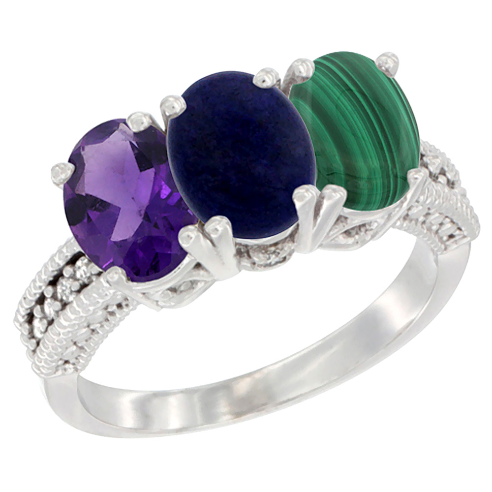 10K White Gold Natural Amethyst, Lapis & Malachite Ring 3-Stone Oval 7x5 mm Diamond Accent, sizes 5 - 10