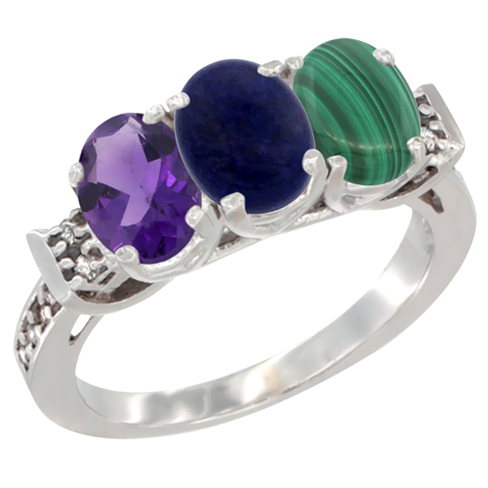 14K White Gold Natural Amethyst, Lapis & Malachite Ring 3-Stone 7x5 mm Oval Diamond Accent, sizes 5 - 10