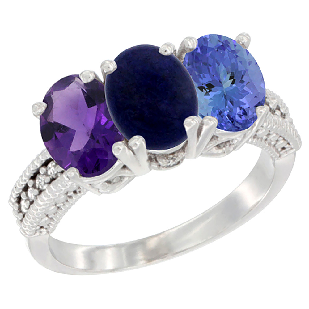 10K White Gold Natural Amethyst, Lapis & Tanzanite Ring 3-Stone Oval 7x5 mm Diamond Accent, sizes 5 - 10