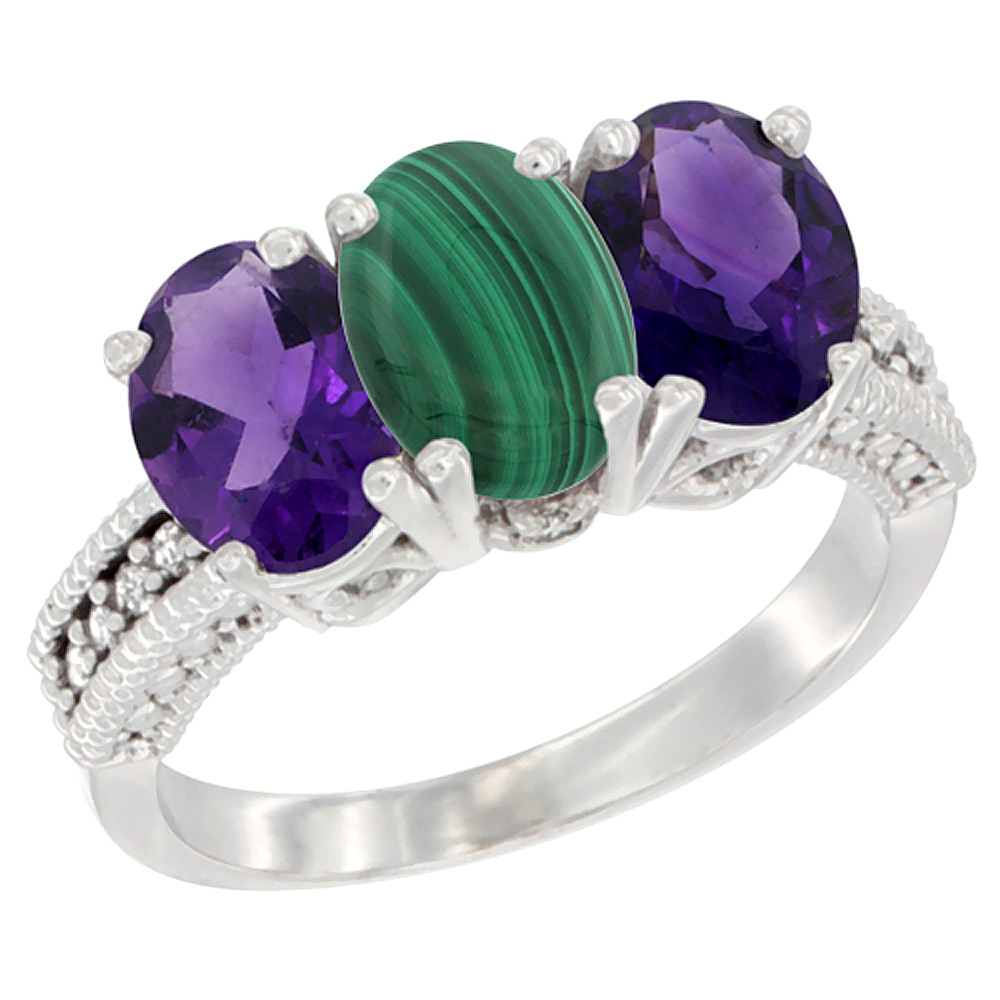 10K White Gold Natural Malachite & Amethyst Sides Ring 3-Stone Oval 7x5 mm Diamond Accent, sizes 5 - 10