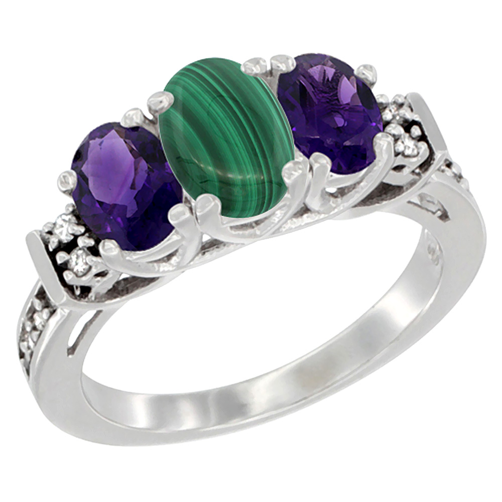 14K White Gold Natural Malachite & Amethyst Ring 3-Stone Oval Diamond Accent, sizes 5-10