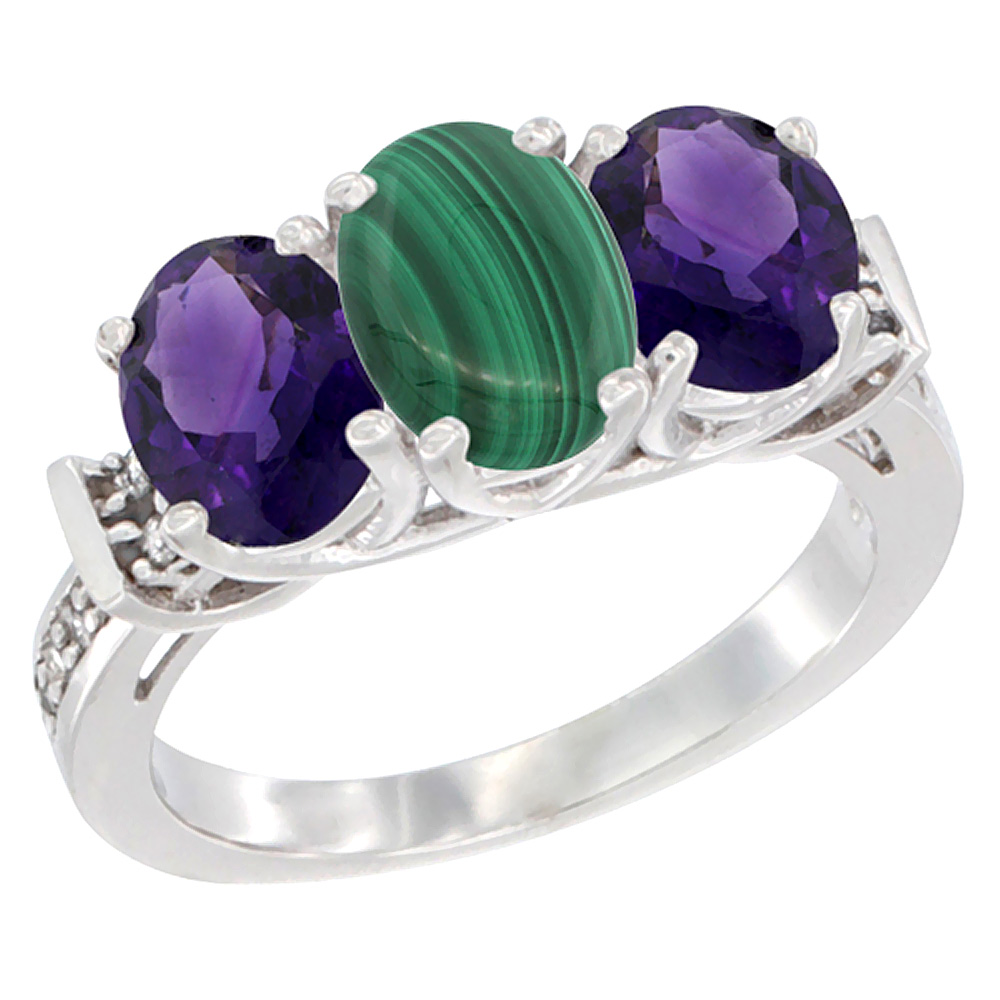 14K White Gold Natural Malachite & Amethyst Sides Ring 3-Stone Oval Diamond Accent, sizes 5 - 10