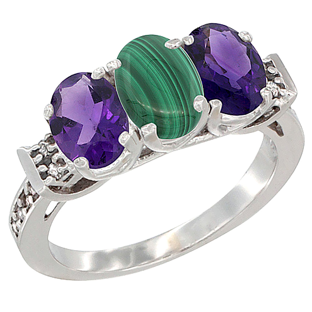 14K White Gold Natural Malachite & Amethyst Sides Ring 3-Stone 7x5 mm Oval Diamond Accent, sizes 5 - 10
