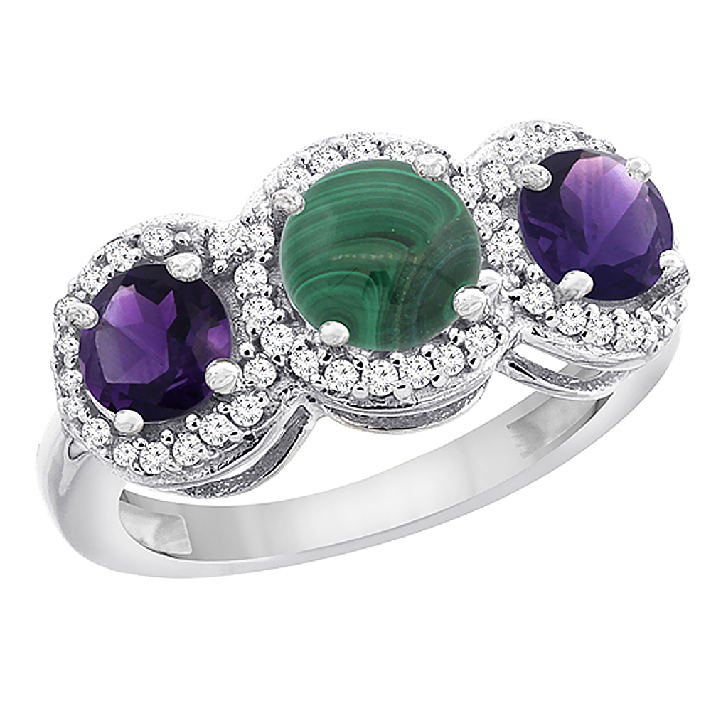 10K White Gold Natural Malachite & Amethyst Sides Round 3-stone Ring Diamond Accents, sizes 5 - 10