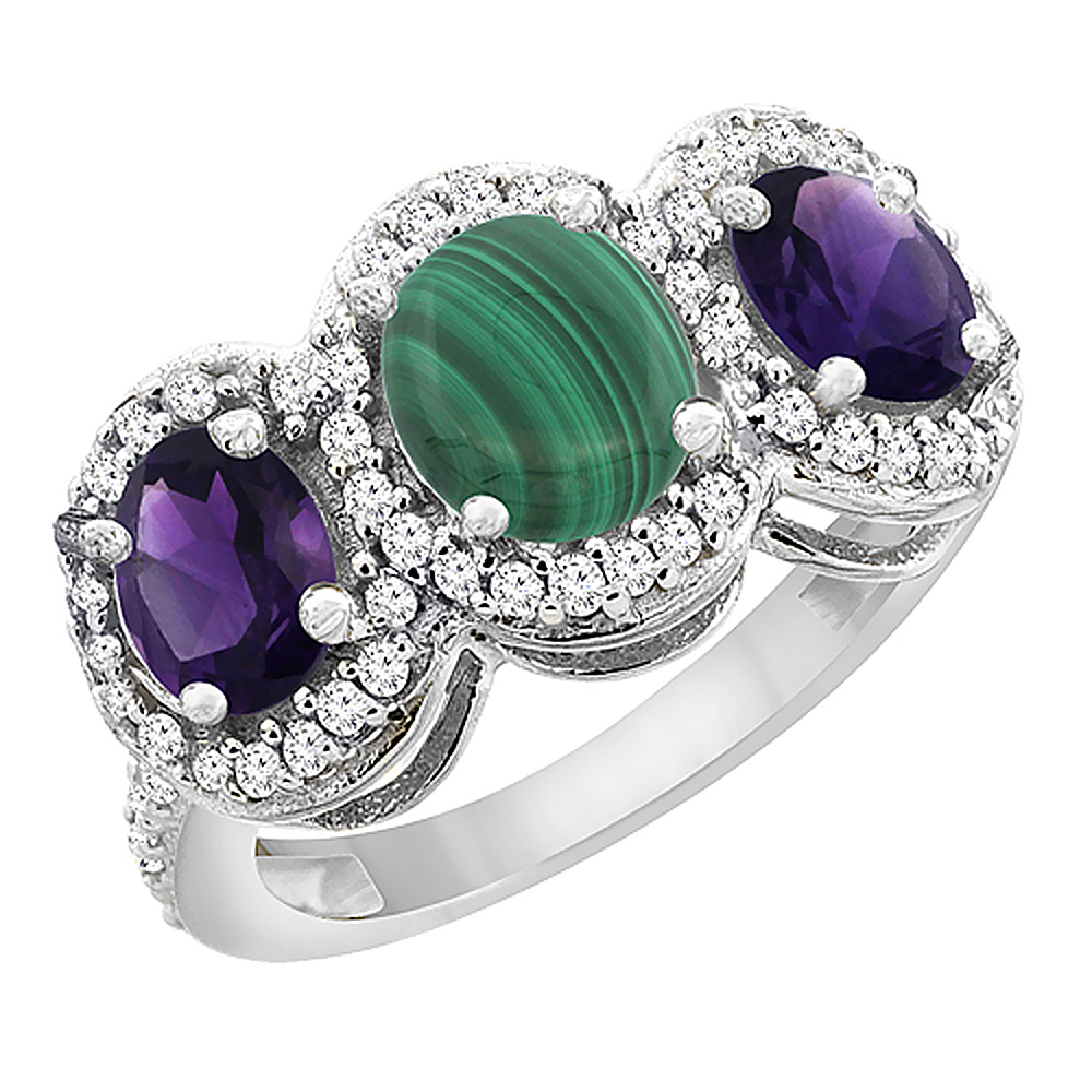 10K White Gold Natural Malachite & Amethyst 3-Stone Ring Oval Diamond Accent, sizes 5 - 10