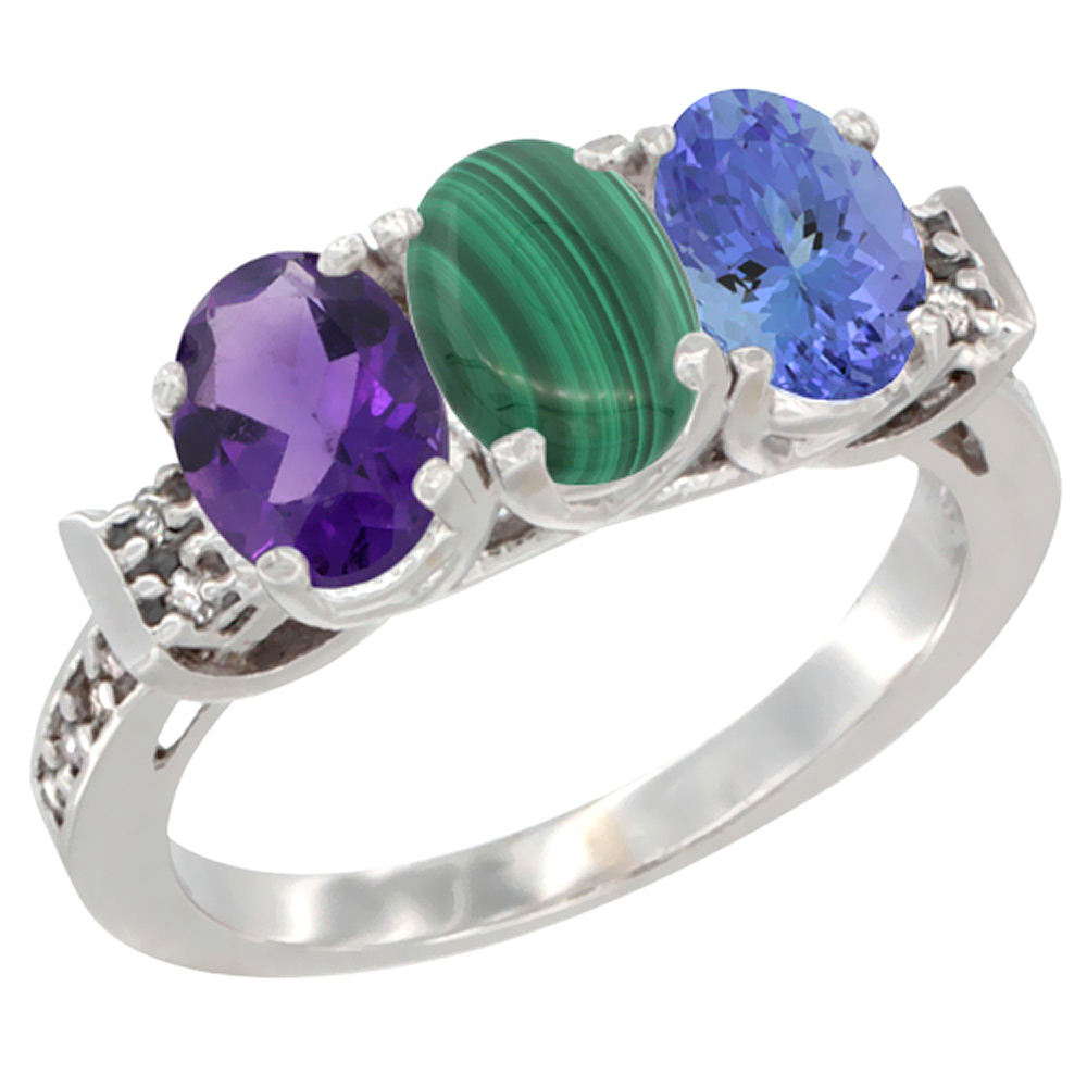10K White Gold Natural Amethyst, Malachite & Tanzanite Ring 3-Stone Oval 7x5 mm Diamond Accent, sizes 5 - 10