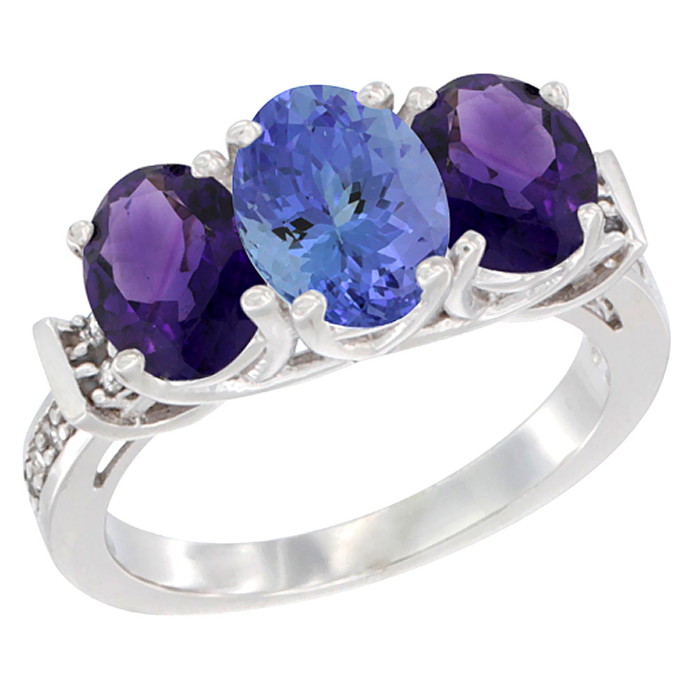 14K White Gold Natural Tanzanite & Amethyst Sides Ring 3-Stone Oval Diamond Accent, sizes 5 - 10