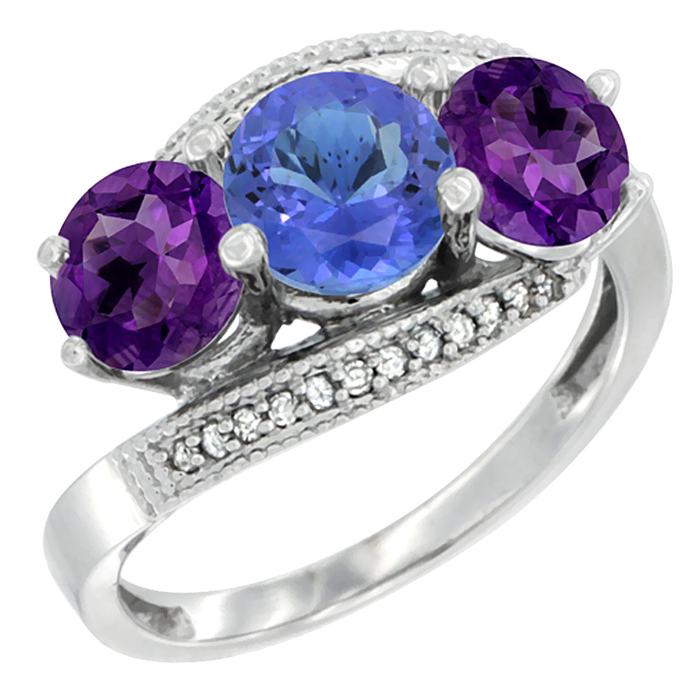 10K White Gold Natural Tanzanite & Amethyst Sides 3 stone Ring Round 6mm Diamond Accent, sizes 5 - 10