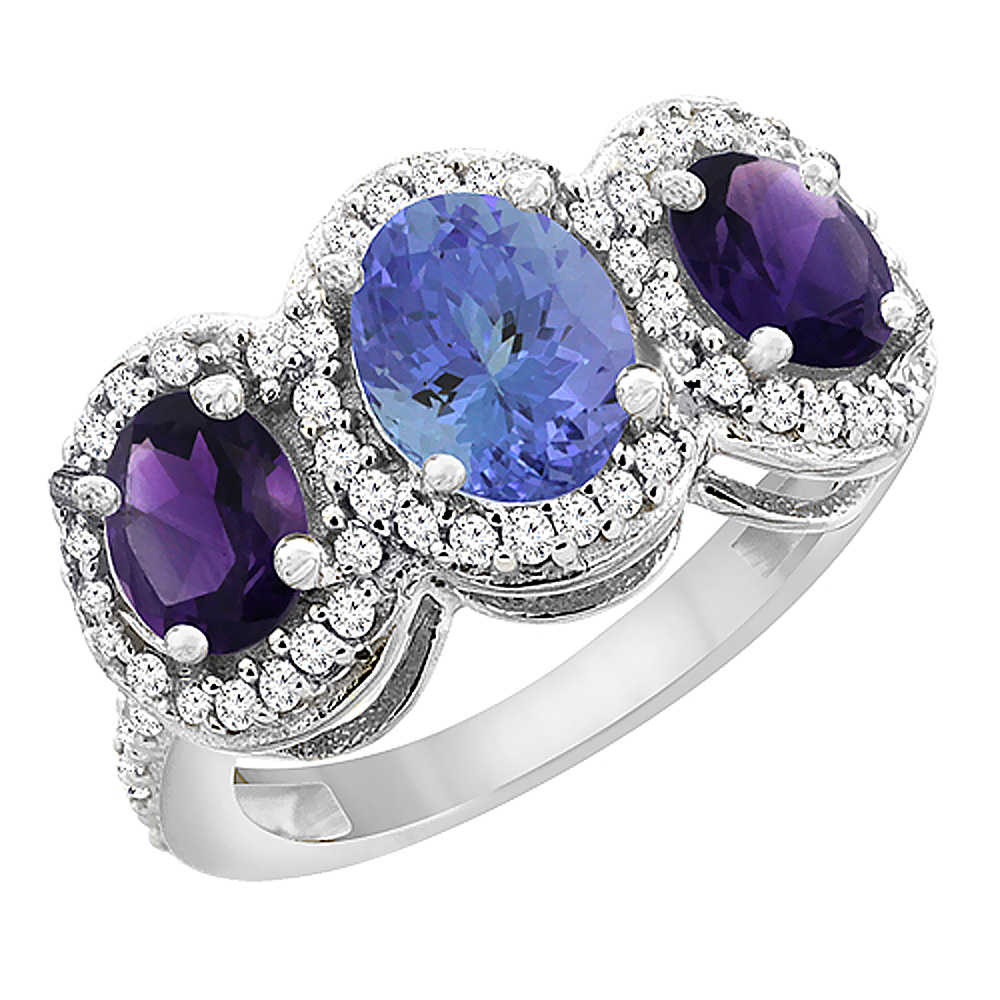 14K White Gold Natural Tanzanite & Amethyst 3-Stone Ring Oval Diamond Accent, sizes 5 - 10