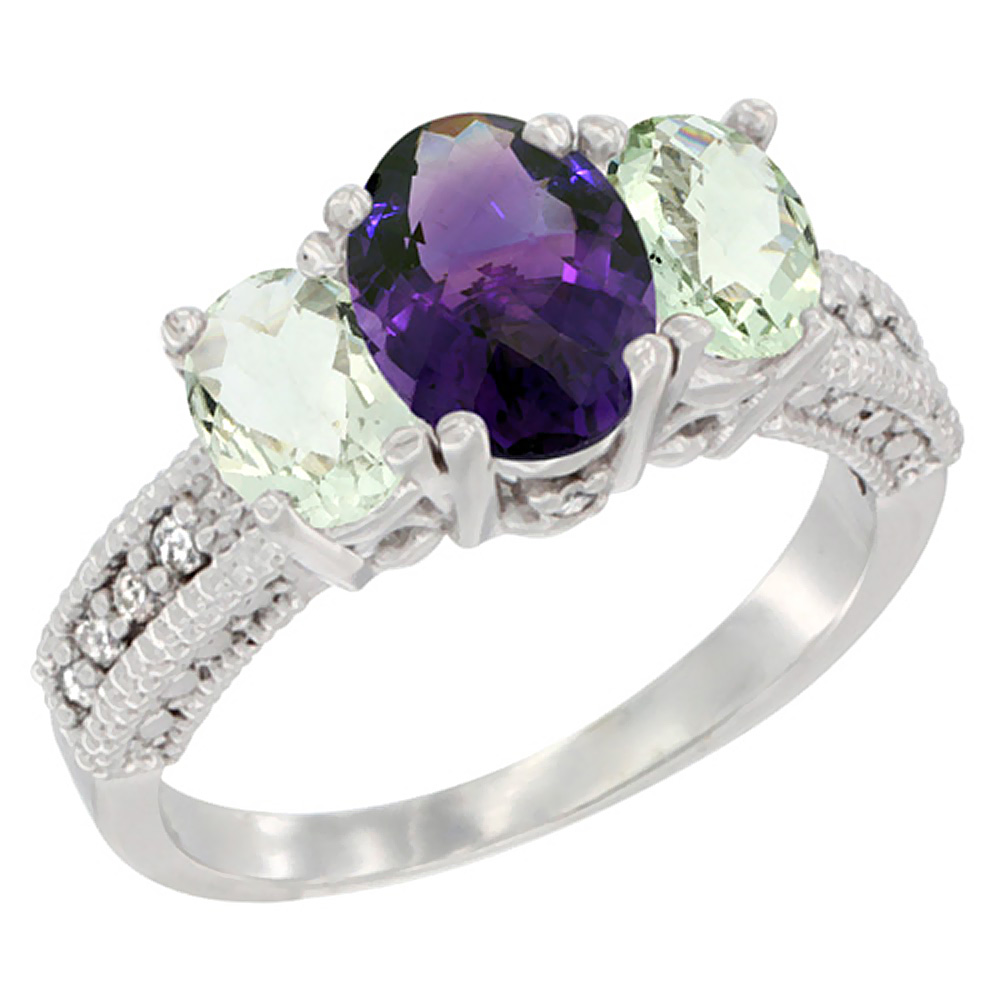 14K White Gold Diamond Natural Amethyst Ring Oval 3-stone with Green Amethyst, sizes 5 - 10