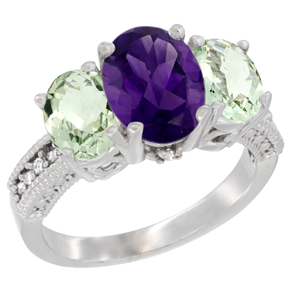 10K White Gold Natural Amethyst Ring Ladies 3-Stone 8x6 Oval with Green Amethyst Sides Diamond Accent, sizes 5 - 10