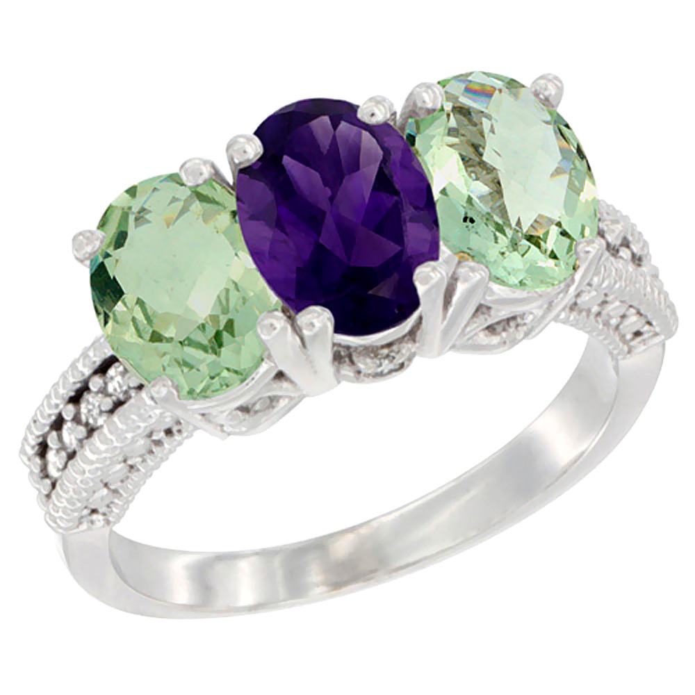 14K White Gold Natural Amethyst & Green Amethyst Ring 3-Stone 7x5 mm Oval Diamond Accent, sizes 5 - 10