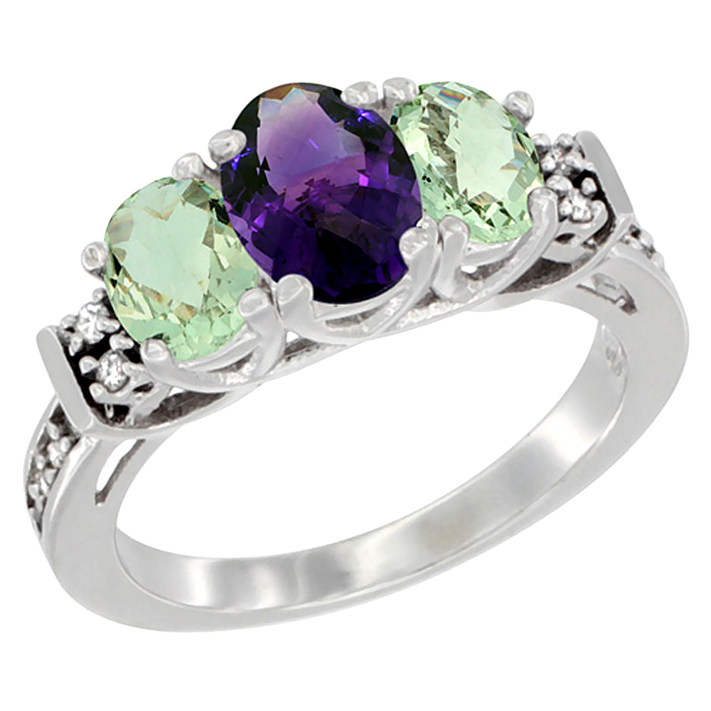 14K White Gold Natural Amethyst & Green Amethyst Ring 3-Stone Oval Diamond Accent, sizes 5-10