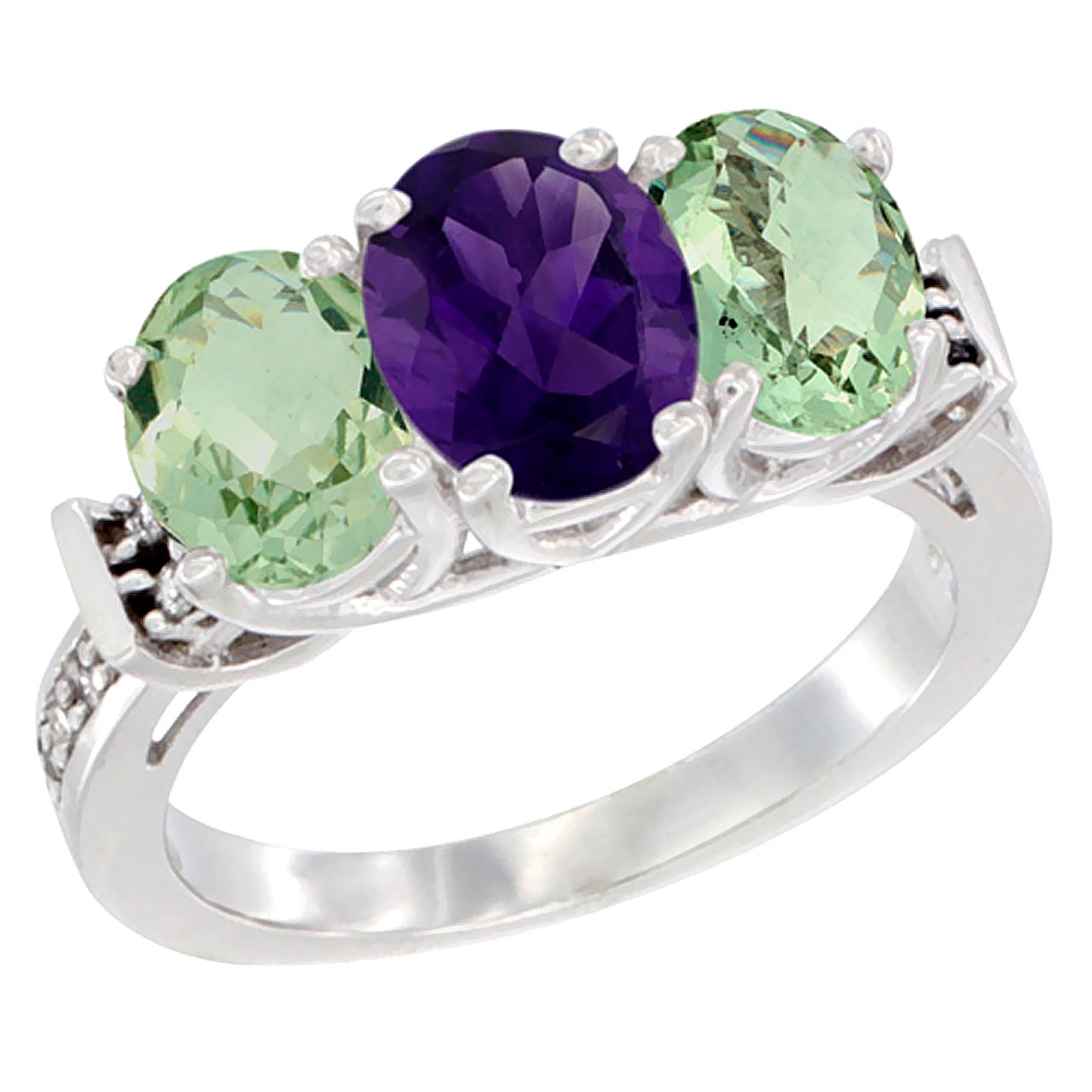 14K White Gold Natural Purple & Green Amethysts Ring 3-Stone Oval Diamond Accent, sizes 5 - 10