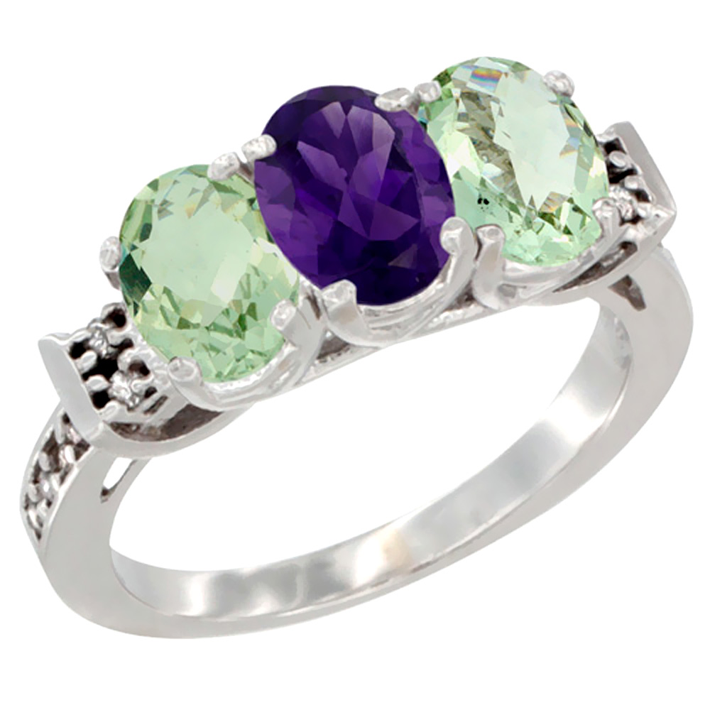14K White Gold Natural Amethyst & Green Amethyst Sides Ring 3-Stone 7x5 mm Oval Diamond Accent, sizes 5 - 10