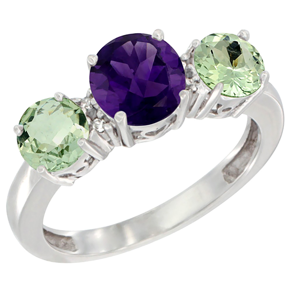 14K White Gold Round 3-Stone Natural Amethyst Ring & Green Amethyst Sides Diamond Accent, sizes 5 - 10