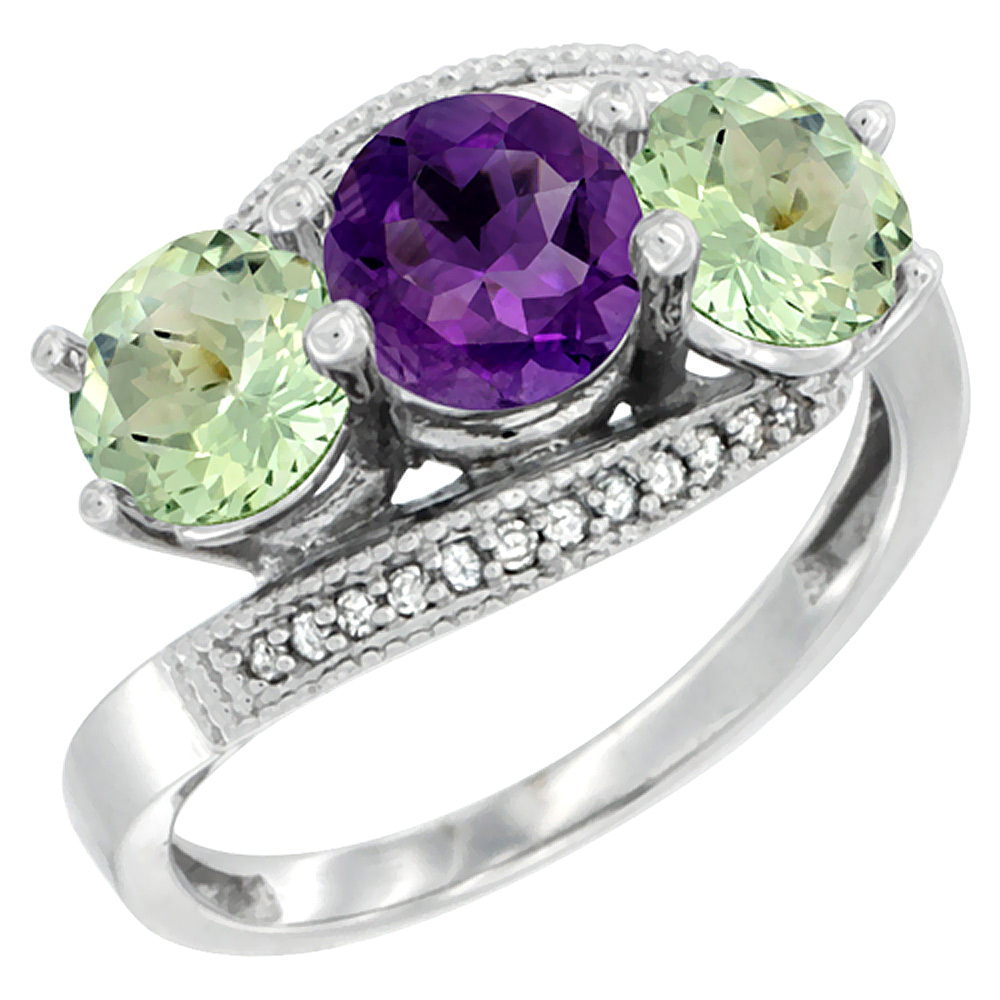 14K White Gold Natural Purple & Green Amethyst Sides 3 stone Ring Round 6mm Diamond Accent, sizes 5 - 10