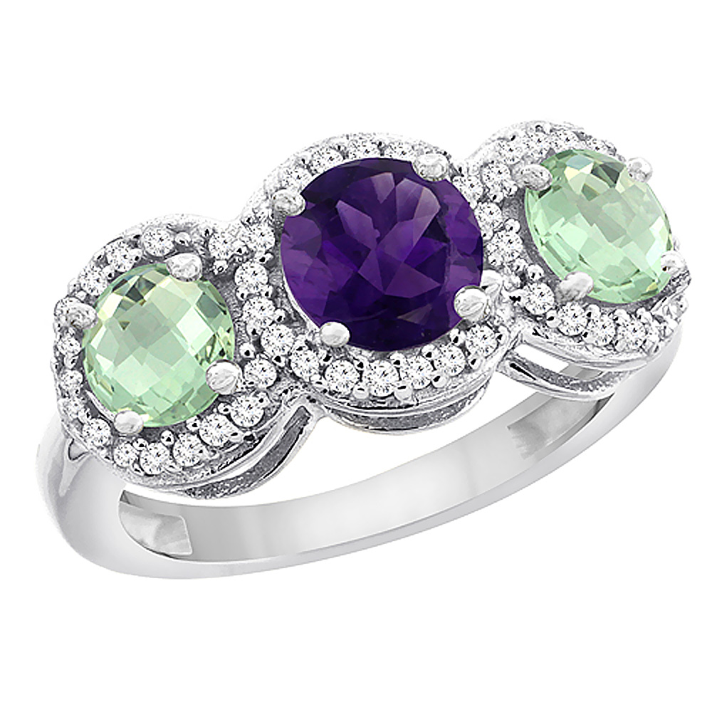 10K White Gold Natural Amethyst & Green Amethyst Sides Round 3-stone Ring Diamond Accents, sizes 5 - 10