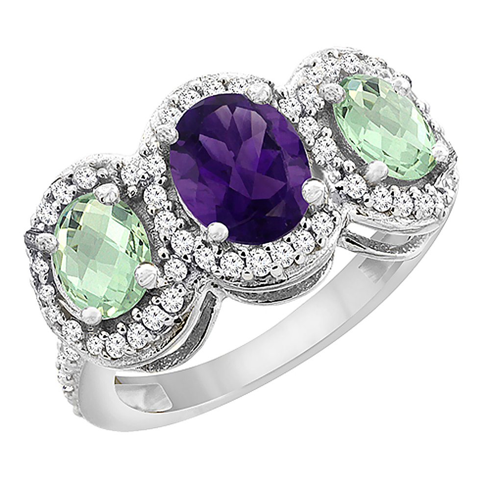 14K White Gold Natural Amethyst & Green Amethyst 3-Stone Ring Oval Diamond Accent, sizes 5 - 10