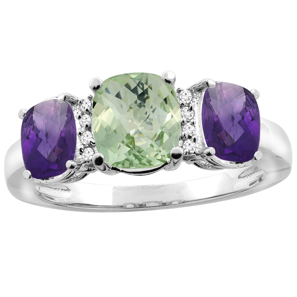 14K White Gold Natural Green Amethyst & Amethyst 3-stone Ring Cushion 8x6mm Diamond Accent, sizes 5 - 10