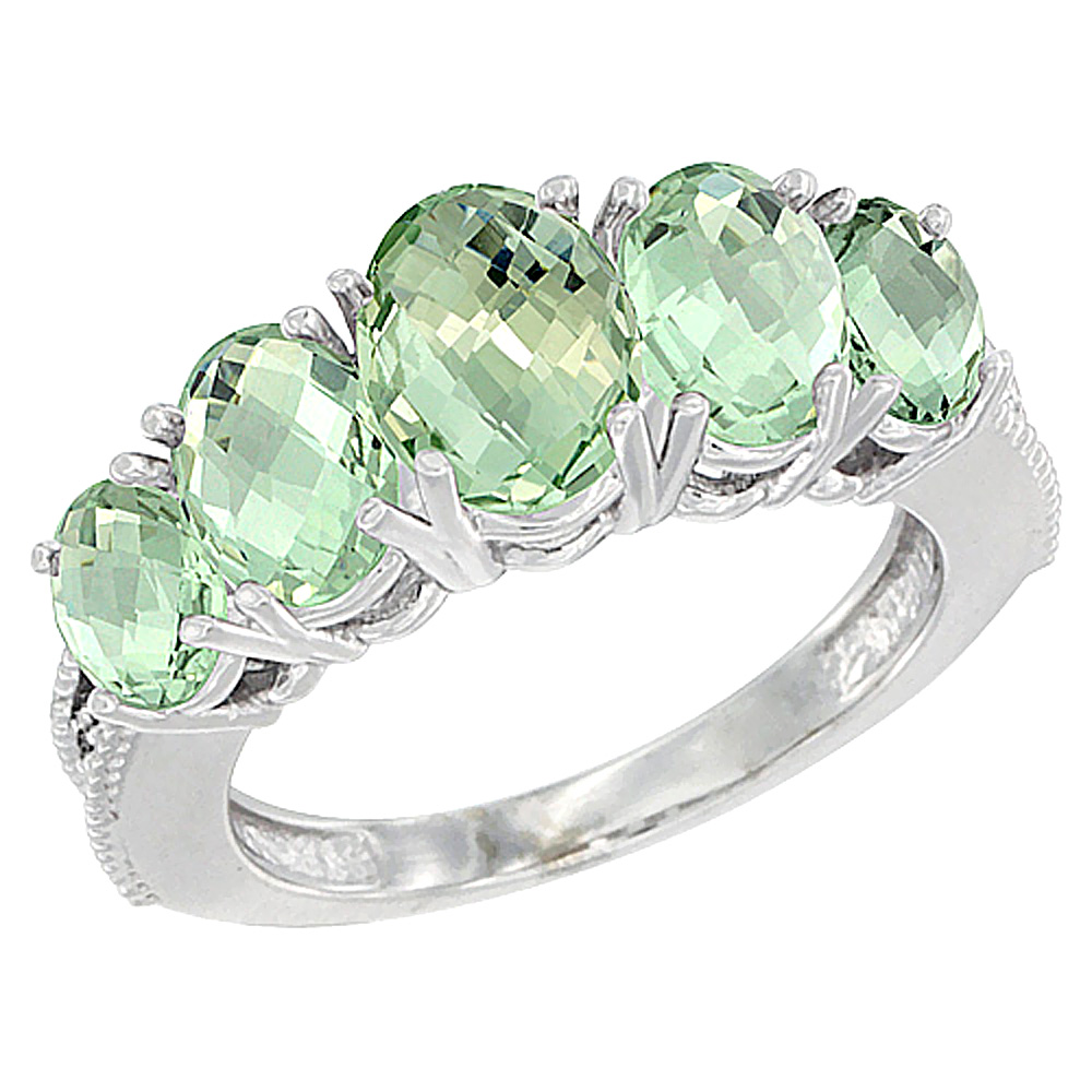 10K White Gold Diamond Natural Green Amethyst Ring 5-stone Oval 8x6 Ctr,7x5,6x4 sides, sizes 5 - 10